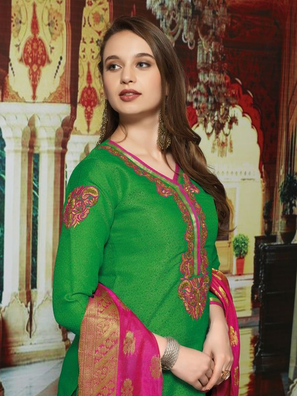 Green Chanderi Jacquard Kurta with Churidar & Dupatta